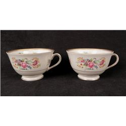 2 Occupied Japan SGK China Teacups Floral WWII