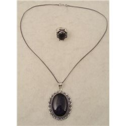 Blue Sunstone 2 Pc Sterling Ring, Pendant Necklace Set