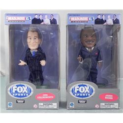 2 Bobbleheads NFL Fox James Brown, Cris Collinsworth