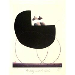 Mackenzie Thorpe 'A BOY AND A GIRL' Lithograph