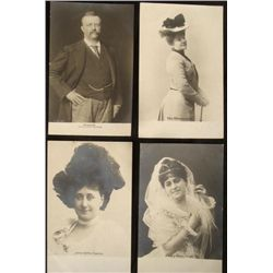 4 Antique German Postcards w/ Teddy Roosevelt, Theater