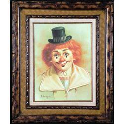 Hoppin Original Painting Clown Portrait -Framed
