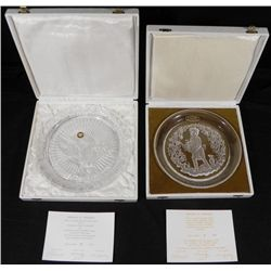 2 Gilbert Poillerat Crystal Collector Plates-Pax,Autumn