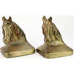 "Vintage bronze horse head bookend, 5"" tall,"