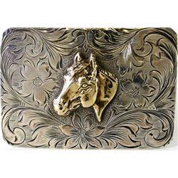 Sterling silver and 10K gold belt buckle