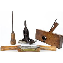 Collection of 4 antique tools includes