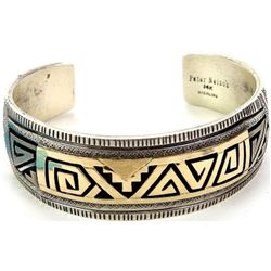 Heavy Navajo bracelet in sterling and 14K gold