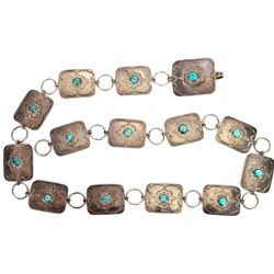 Navajo concho belt sterling silver and turquoise