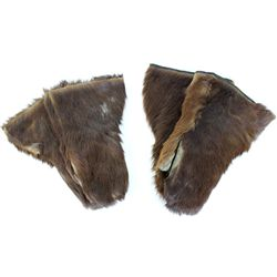 2 pair hair on mittens with leather palms, cloth