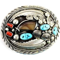 Fine sterling & turquoise bear claw belt buckle