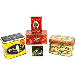 Collection of 5 tobacco tins