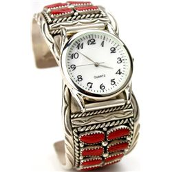Zuni watch band in sterling silver and red coral,