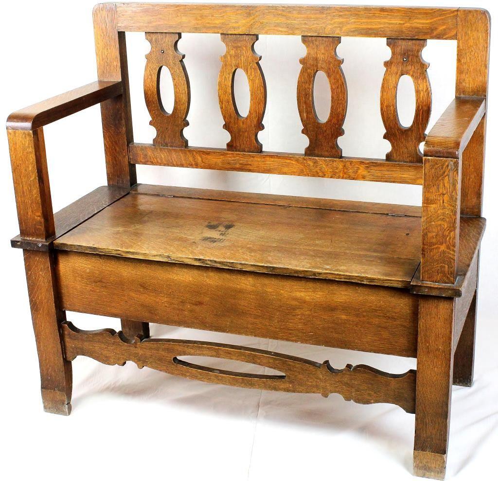 Wondrous Antique American Oak Hall Bench With Lift Seat Spiritservingveterans Wood Chair Design Ideas Spiritservingveteransorg