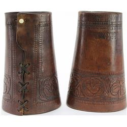 Great pair early cowboy cuffs with ivory buttons
