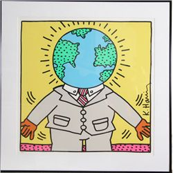 Keith Haring, Global Man, Signed Serigraph