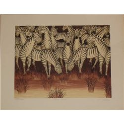 Gustavo Novoa, Plum River, Signed Lithograph