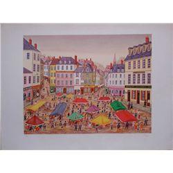 Francois (Fanch) Ledan, Place du Marche, Signed Litho