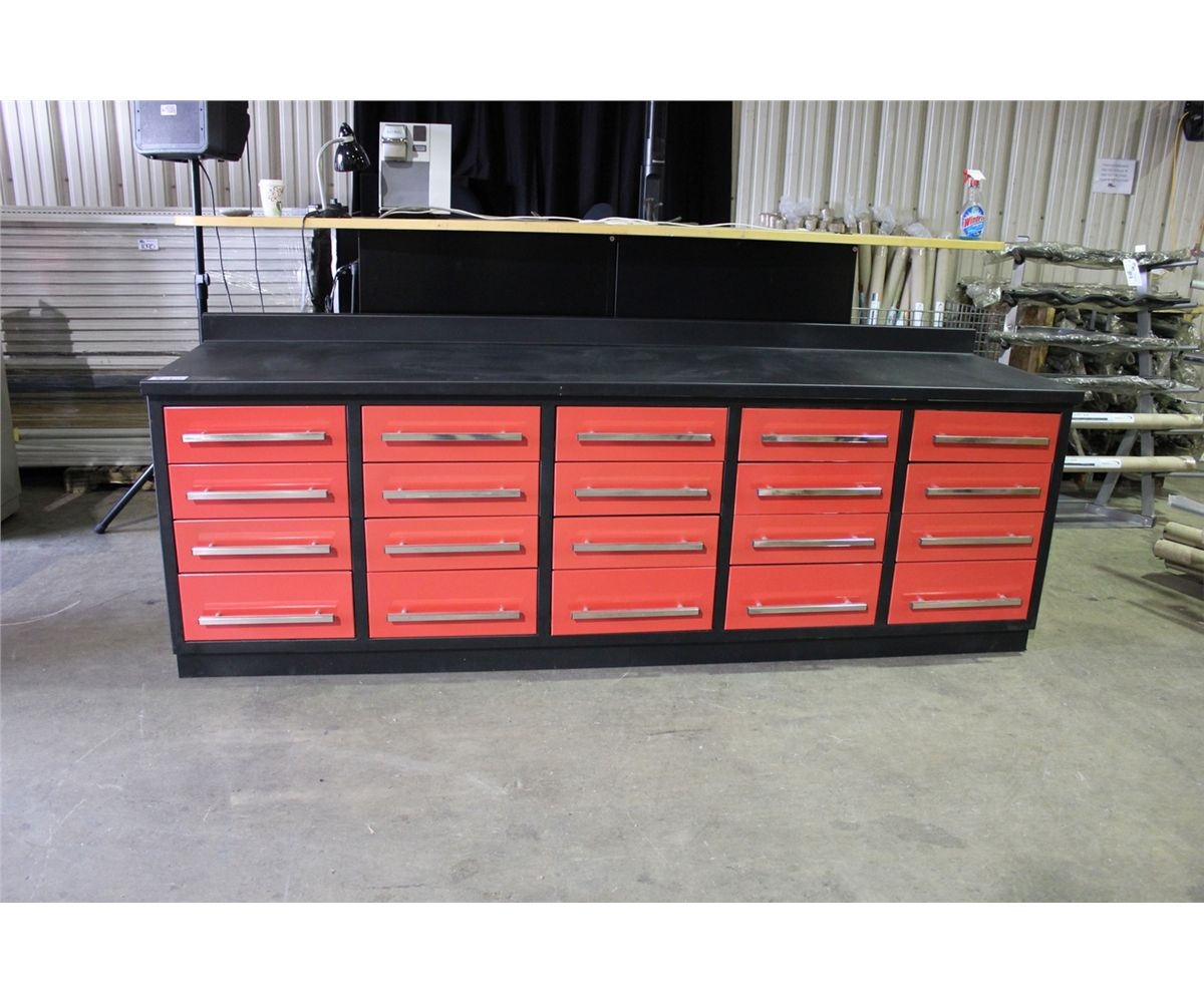 Prime Black And Red Model 1020Wb 20 Drawer 10 Metal Work Bench Caraccident5 Cool Chair Designs And Ideas Caraccident5Info