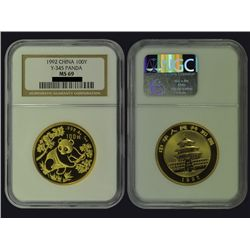 CHINA 1992 Panda 100 Yuan 1 Oz Gold, NGC MS69