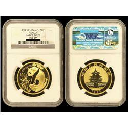CHINA 1993 Panda 100 Yuan 1 Oz Gold, NGC MS69