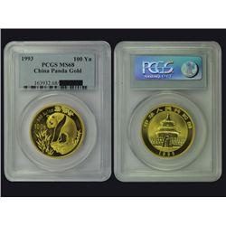 CHINA 1993 Panda 100 Yuan 1 Oz Gold, PCGS MS68