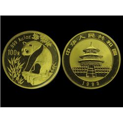CHINA 1993 Panda 100 Yuan 1 Oz Gold, Sealed, UNC