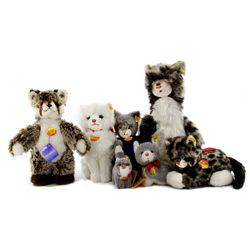 Collection of 6 Steiff Cats with 1 Steiff Fox