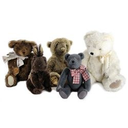 Collection of 5 Handcrafted Stuffed Animals