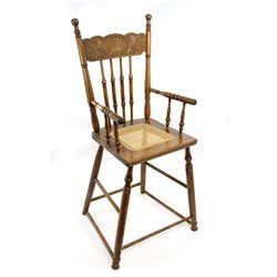 Early 1900s Antique Oak Press Back Chair