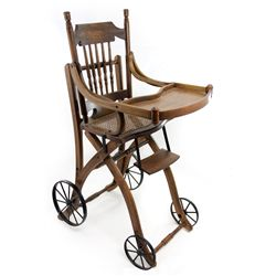 1910s Antique Victorian Oak High Chair and Stroller