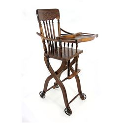 1920s Antique Victorian Oak High Chair and Stroller