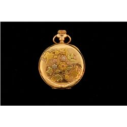 14kt elgin pocket watch, needs service, total weight 30.6 grams