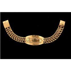 "(1) 14ky ID style bracelet, ""Andrew"", 7.5"", 43.6 grams"