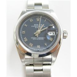 Model: 79160.- Stainless Steel Ladies Rolex Oyster Perpetual Date Watch - 26mm case, smooth bezel, b