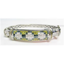 14k White Gold Irradiated Yellow, Blue, & White Diamond Hinged Bangle - 68 white princess cut diamon