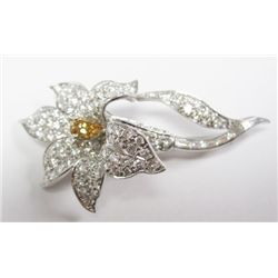 Platinum Gold Orchid Flower Broach w/approx. 3.70 carats Pear, Baguette, & Round Brilliant Cut Diamo