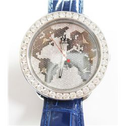 Gents Stainless Steel Jacob & Co 5 Time Zone World Time Watch - 50mm case, Factory origianl diamond