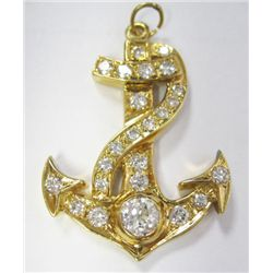 18k Yellow Gold Anchor w/TAW 1.75 carat Round Cut Diamonds - 24 round cut diamonds, (center diamond