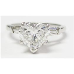 Approx. 1.10 carat Heart Shape Diamond w/ Platinum mounting. -Heart shape diamond, approx: 1.10 cara