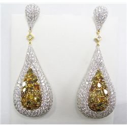 18k White Gold Dangling Pierced Earrings w/ Yellow & White Diamonds - Approx. 16.33 carats of pear,