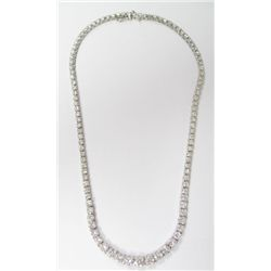 "14k White Gold ""Riviera"" Diamond Necklace, TAW: 16 carats - 103 round brilliant cut diamonds, TAW: 1"