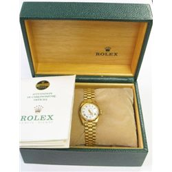 "18k Yellow Gold Ladies Rolex ""president"" Oyster Perpetual Datejust Watch- Model: 6917 - 26mm, white"
