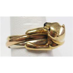 "Cartier 18k Yellow Gold Panther Ring - 2 round cut emerald eyes. Enamel nose. Ring size: 7.5"". Weigh"