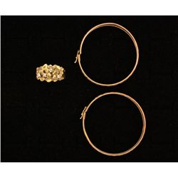 (1) 10ky nugget style ring , (1) 10ky pair earrings, 10.5 grams