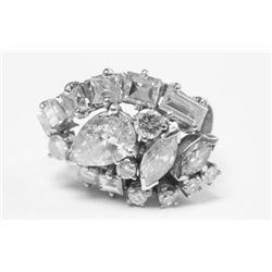 18k White Gold Diamond Cluster Ring - Approx. 1 carat pear shape diamond, estimate: I clarity, H col
