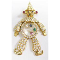 Chopard 18k Yellow Gold Clown Pendant w/ Emerald, Sapphire, Rubies, & Round Brilliant Cut Diamonds -