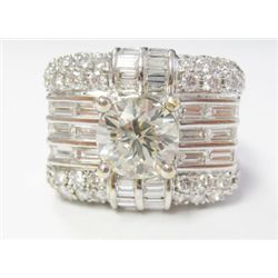 Approx. 2.09 Carat Round Brilliant Cut Diamond set w/ 18k White Gold Mounting w/ Baguette & Round Br