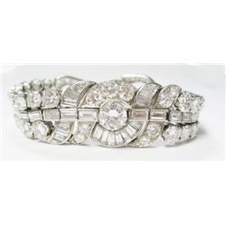 Platinum Art Deco Diamond Bracelet w/ Baguette & Round European Brilliant Cut Diamonds - Center Euro