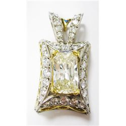18k Yellow & White Gold Pendant w/ Approx 8.46 carats  Radiant & round brilliant Cut Diamond. Radian