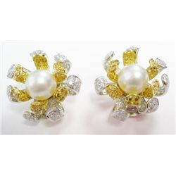 18k Yellow & White Gold Pierced Earrings w/ Pearls & Round Brilliant Cut Diamonds - 196 round brilli